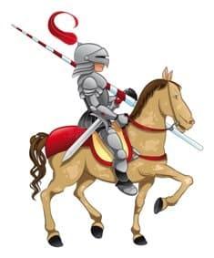 Парень в рыцарских доспехах на лошади проходит службу в армии
