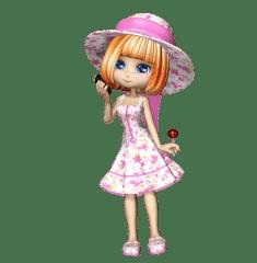Необычная девушка в интересной шляпе и с конфетой в руках