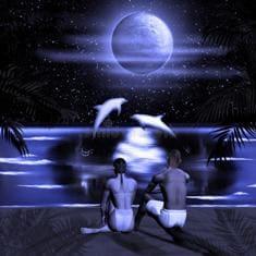 Девушка с любимым парнем после секса смотрят на луну