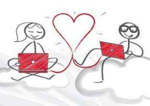 Девушка с парнем ведут переписку про любовь